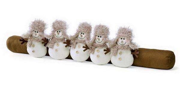 валик-игрушка от сквозняков снеговики