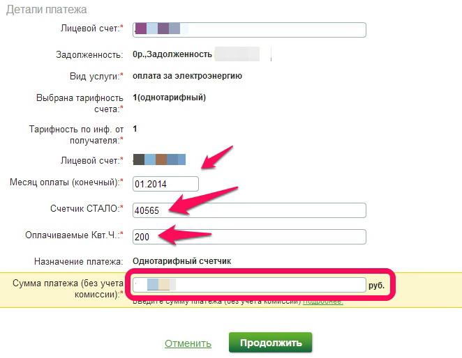 заполнение реквизитов для оплаты электроэнергии через интернет