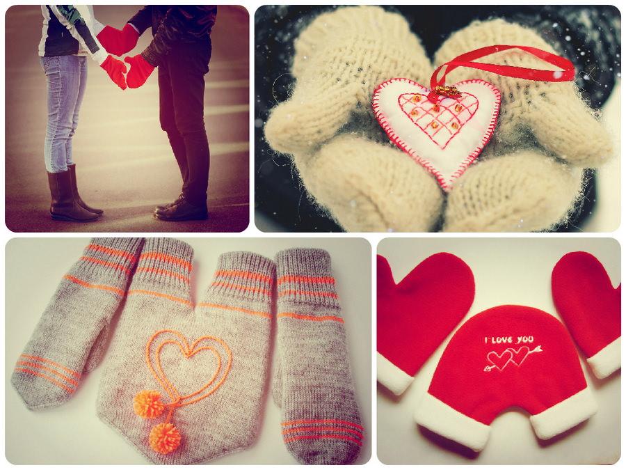 Уютные и теплые варежки и перчатки для влюбленных