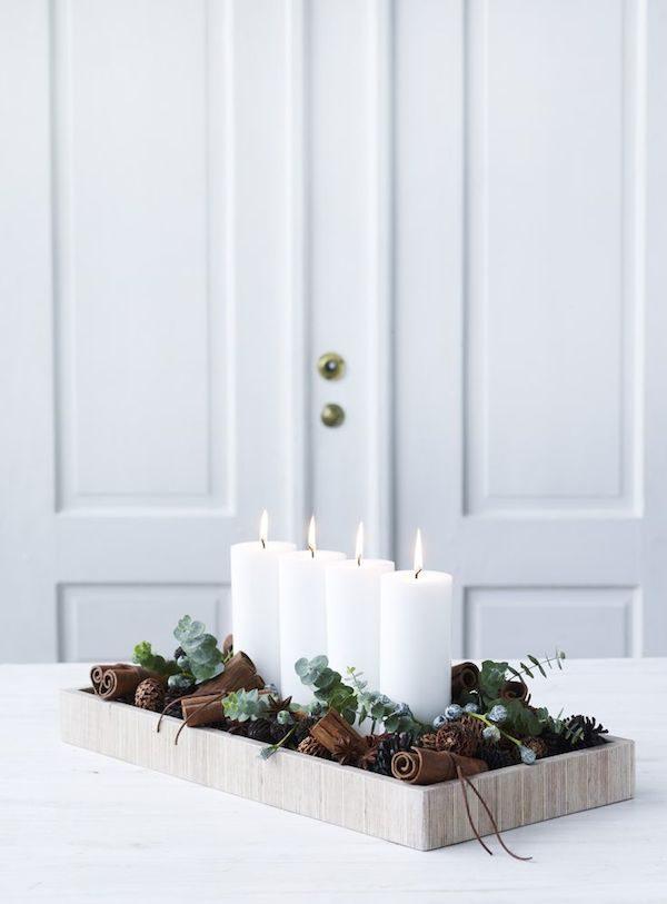 Новогодние свечи в скандинавском стиле