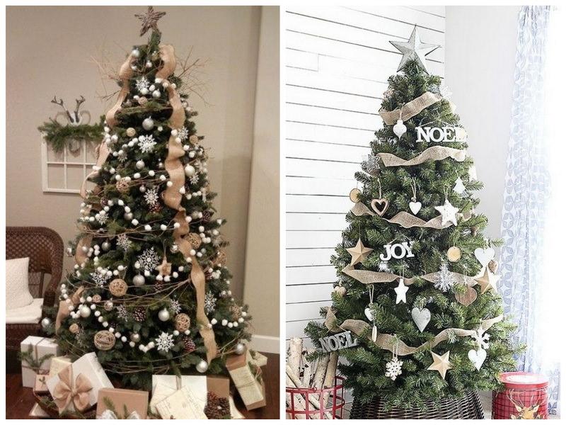 Новогодняя елка в бежевых тонах