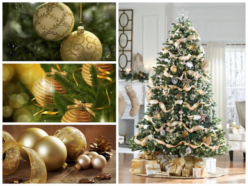 Новогодняя елка в золотистых тонах