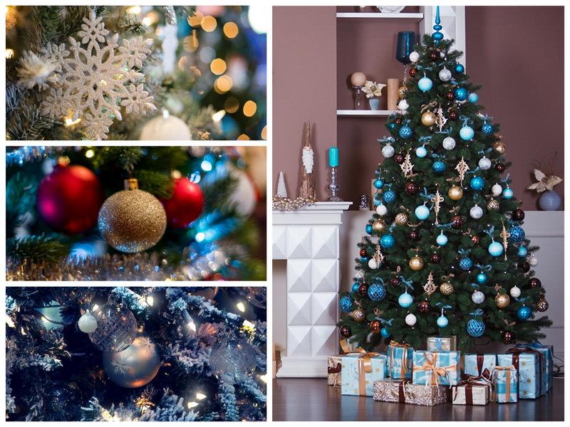 Новогодняя елка в золотых и голубых тонах