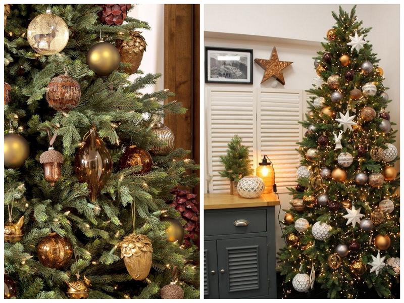 Новогодняя елка в золотых и коричневых тонах